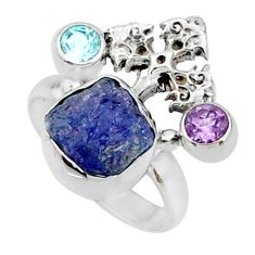7.82cts natural raw tanzanite 925 silver holy cross ring size 6.5 r66983