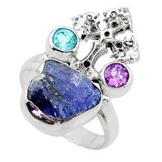 7.53cts natural raw tanzanite 925 silver holy cross ring size 6 r66985