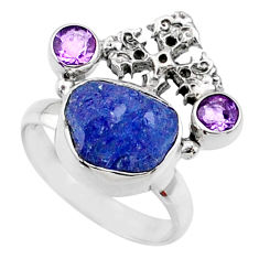 8.55cts natural raw tanzanite 925 silver holy cross ring size 7 r66962