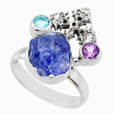 8.31cts natural raw tanzanite 925 silver holy cross ring size 7 r66971
