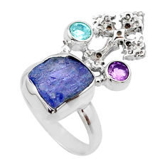 8.31cts natural raw tanzanite 925 silver holy cross ring size 8 r66968