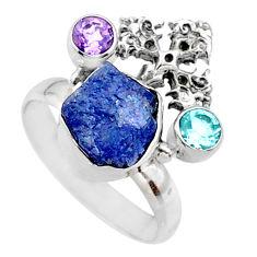 8.05cts natural raw tanzanite 925 silver holy cross ring size 8 r66976