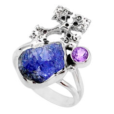 8.42cts natural raw tanzanite 925 silver holy cross ring size 8 r66988