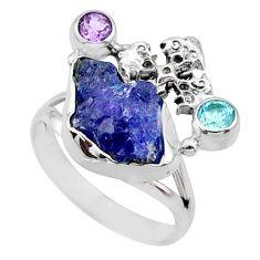 9.32cts natural raw tanzanite 925 silver holy cross ring size 9 r66965