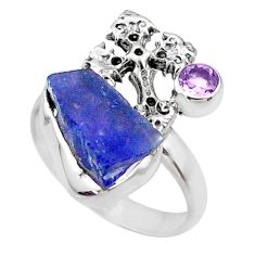 8.94cts natural raw tanzanite 925 silver holy cross ring size 9 r66970