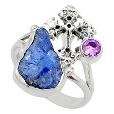 8.55cts natural raw tanzanite 925 silver holy cross ring size 9 r66975