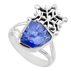 7.15cts natural raw tanzanite 925 silver snowflake ring size 7.5 r66978