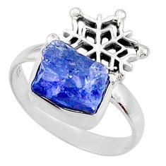 7.89cts natural raw tanzanite 925 silver snowflake ring size 9.5 r66999