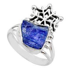 7.54cts natural raw tanzanite 925 silver snowflake ring size 8 r67000