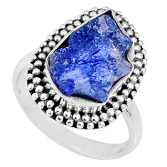 6.78cts natural raw tanzanite 925 silver solitaire ring size 6.5 r66706