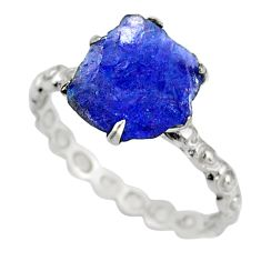 2.36cts natural raw tanzanite rough 925 silver solitaire ring size 6.5 r79380