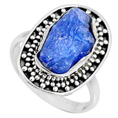 6.26cts natural raw tanzanite 925 silver solitaire ring size 7 r66714