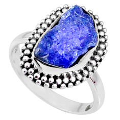 5.96cts natural raw tanzanite 925 silver solitaire ring size 7 r66719