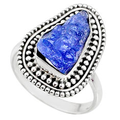 6.85cts natural raw tanzanite 925 silver solitaire ring size 8 r66720