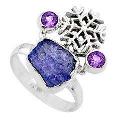 8.53cts natural raw tanzanite amethyst 925 silver ring size 8.5 r66963