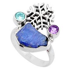 8.42cts natural raw tanzanite amethyst 925 silver ring size 8 r66961