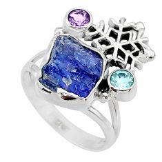 9.32cts natural raw tanzanite amethyst 925 silver ring size 8 r66967