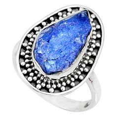 7.04cts natural raw tanzanite fancy silver solitaire ring size 7 r66716
