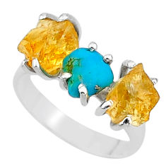 8.26cts natural raw turquoise citrine rough 925 silver ring size 7 t15044