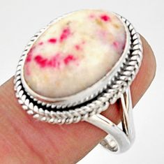 13.09cts natural red cinnabar spanish 925 silver solitaire ring size 8.5 r37875