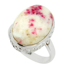 13.90cts natural red cinnabar spanish 925 sterling silver ring size 7.5 r42042
