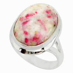 11.92cts natural red cinnabar spanish 925 sterling silver ring size 7.5 r42047