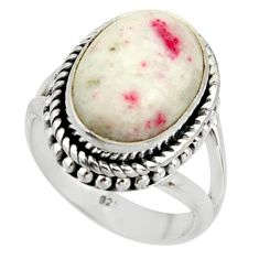 4.94cts natural red cinnabar spanish 925 sterling silver ring size 5.5 r42048