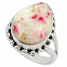 10.60cts natural red cinnabar spanish 925 sterling silver ring size 7 r42045