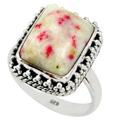 6.44cts natural red cinnabar spanish 925 sterling silver ring size 9 r42052