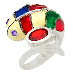 Natural red garnet 925 silver 14k gold fish thai ring jewelry size 6 c21109