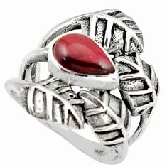 2.10cts natural red garnet 925 silver solitaire leaf charm ring size 8.5 r37061