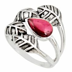 2.10cts natural red garnet 925 silver solitaire leaf charm ring size 7.5 r37063