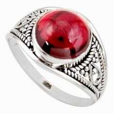 5.57cts natural red garnet 925 silver solitaire ring jewelry size 8.5 r35422