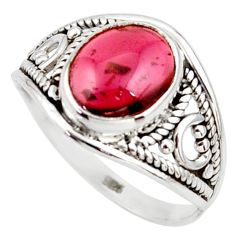 4.04cts natural red garnet 925 silver solitaire ring jewelry size 7 r35449