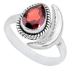2.26cts natural red garnet 925 sterling silver moon ring size 8.5 r89647