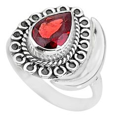 2.39cts natural red garnet 925 sterling silver moon ring size 7.5 r89729