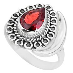 2.63cts natural red garnet 925 sterling silver moon ring size 7.5 r89731