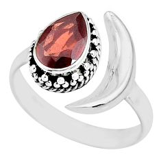 2.26cts natural red garnet 925 sterling silver moon ring size 8.5 r89791