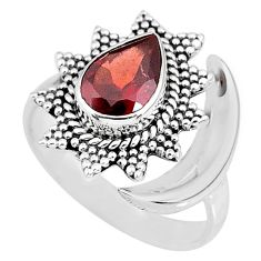 2.67cts natural red garnet 925 sterling silver moon ring size 8.5 r89829
