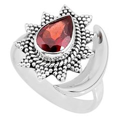 2.67cts natural red garnet 925 sterling silver moon ring size 8.5 r89844
