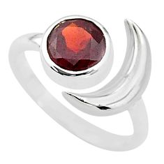 2.44cts natural red garnet 925 sterling silver adjustable moon ring size 6 t4244