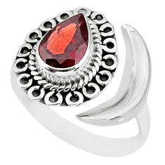 2.29cts natural red garnet 925 sterling silver moon ring size 7 r89710