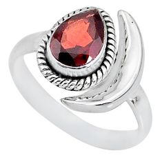 2.26cts natural red garnet 925 sterling silver moon ring size 8 r89645