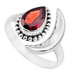 2.30cts natural red garnet 925 sterling silver moon ring size 8 r89666