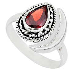 2.39cts natural red garnet 925 sterling silver moon ring size 8 r89764