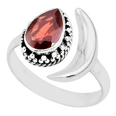 2.26cts natural red garnet 925 sterling silver moon ring size 8 r89789