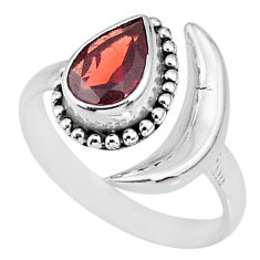 2.37cts natural red garnet 925 sterling silver moon ring size 9 r89687