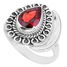 2.63cts natural red garnet 925 sterling silver moon ring size 9 r89730