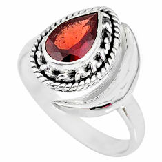 2.36cts natural red garnet 925 sterling silver moon ring size 9 r89746