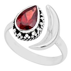 2.24cts natural red garnet 925 sterling silver moon ring size 9 r89809